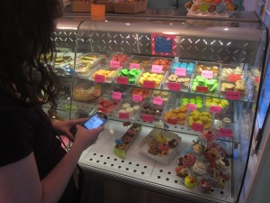 This is me at a bakery looking up the French words for the macaron flavors in my French-English dictionary app.