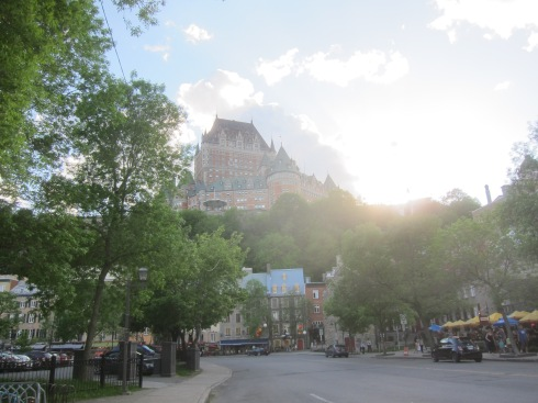 The sun sets over the Chateau Frontenac, the iconic hotel towering over the town. Is this place even real?