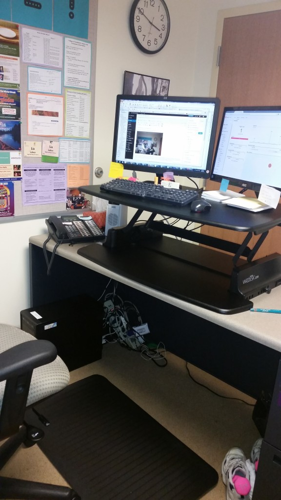 My standing desk in the standing position. Pretty meta to see the picture of me composing this blog entry, right?