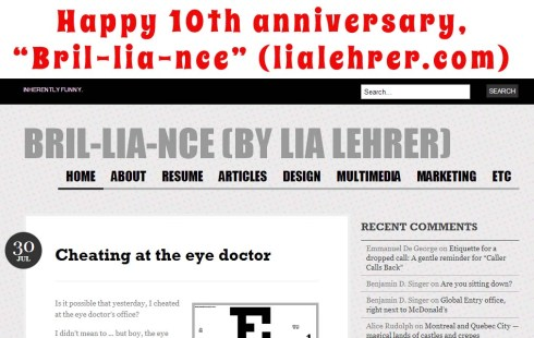 """Happy 10th anniversary, """"Bril-lia-nce"""" (lialehrer.com)"""