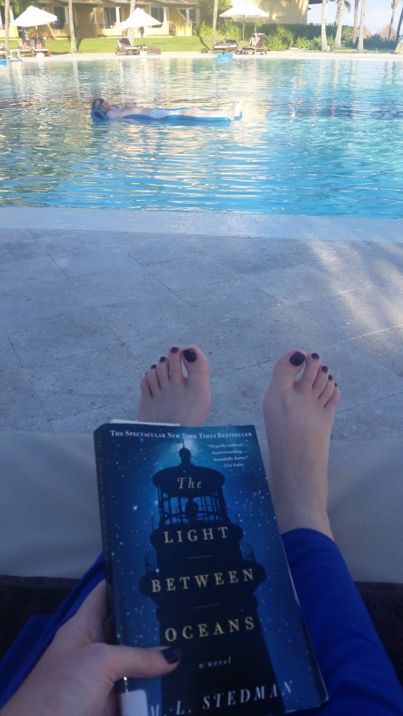 You know, that picture people take of their book, their toes, the pool, and their fiance floating in the water