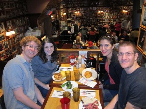 At the Carnegie Deli in New York with Adam, Dan, and Dori