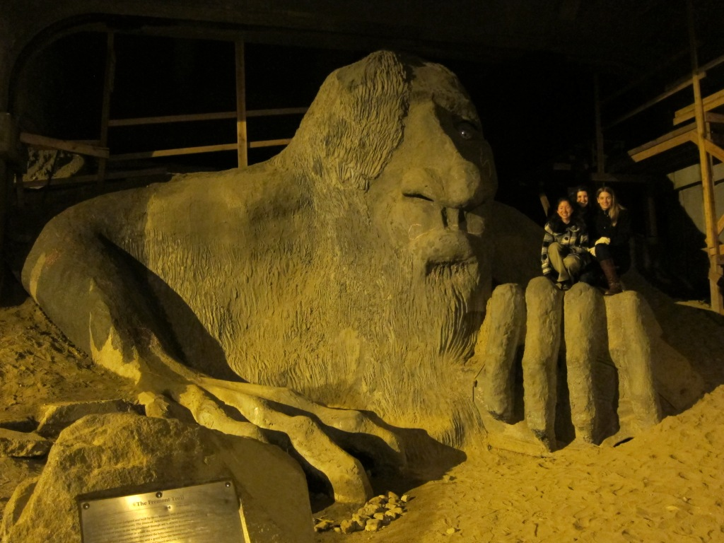Hanging out on the Fremont Troll in Seattle