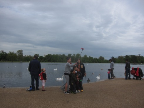 Selfie stick near Kensington Gardens